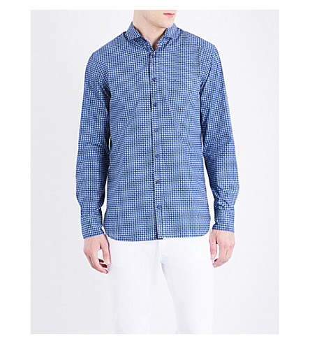 BOSS Slim-fit geometric-print cotton shirt (Dark+blue