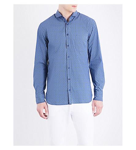 BOSS ORANGE Slim-fit geometric-print cotton shirt (Dark+blue