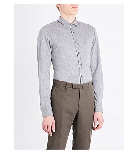 BOSS Slim-fit cotton shirt (Light/pastel+grey