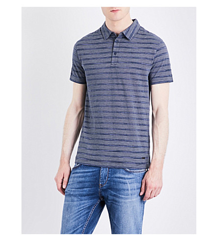 BOSS Striped jersey polo shirt (Dark+blue