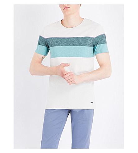 BOSS ORANGE Stripe-detailed cotton-jersey T-shirt (Open+white