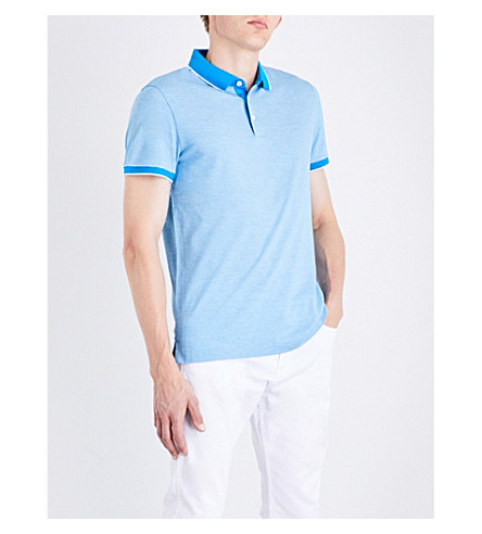 BOSS Geometric-patterned cotton-piqué polo shirt (Light/pastel+blue