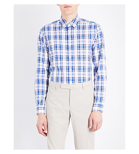 BOSS Regular-fit checked cotton shirt (Navy