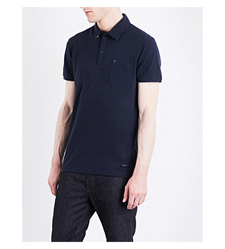 BOSS ORANGE Marled jersey polo shirt (Dark+blue