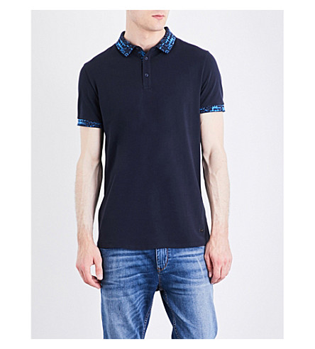 BOSS Contrast-collar jersey polo shirt (Dark+blue