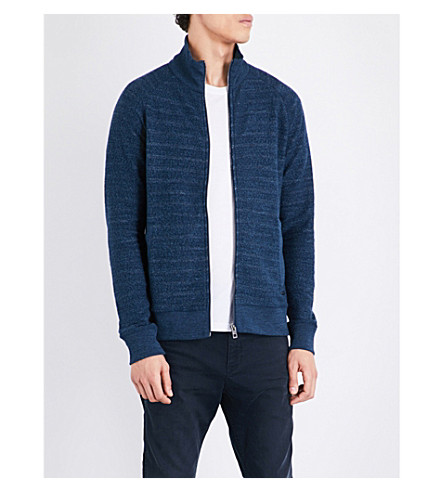 HUGO BOSS Textured cotton-jersey sweatshirt (Dark+blue