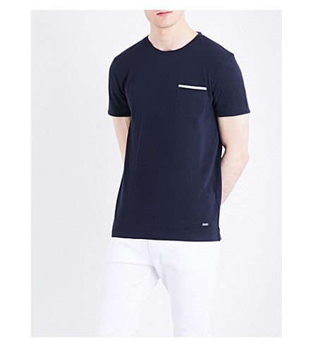 BOSS ORANGE Textured jersey T-shirt (Dark+blue