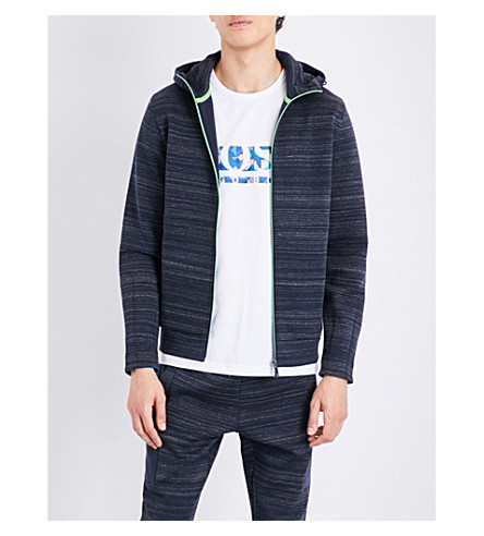 BOSS Tonal stripe jersey sweatshirt (Navy