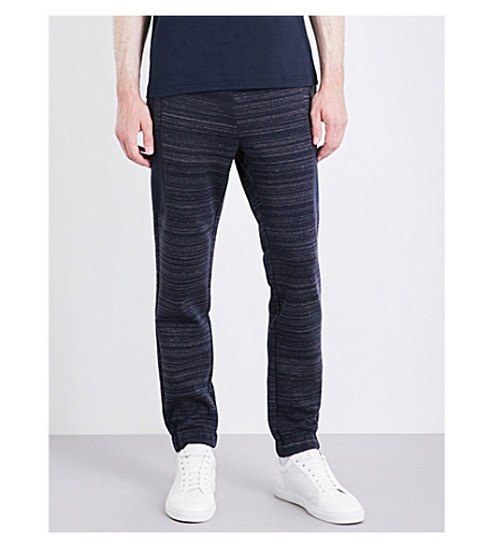 BOSS GREEN Marled jersey track pants (Navy