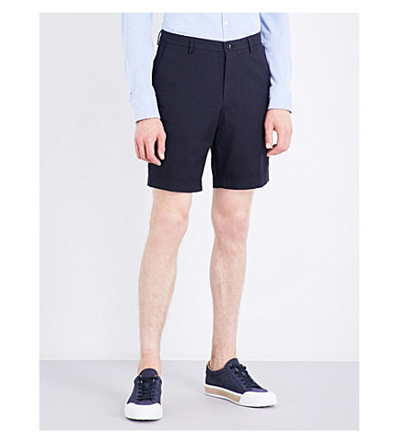 BOSS Regular-fit stretch-cotton shorts (Navy