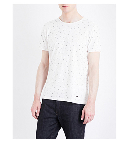 BOSS ORANGE Hand-print cotton-jersey T-shirt (Natural
