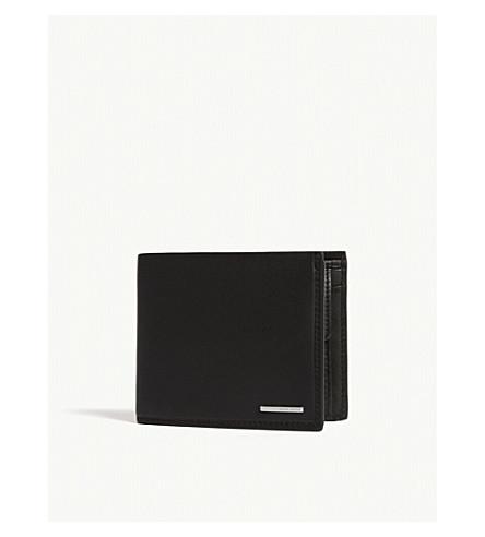 BOSS Ruben leather trifold wallet (Black