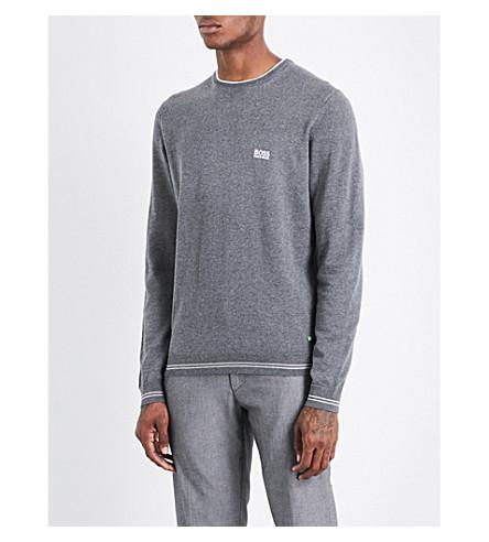 BOSS GREEN Striped-trim knitted cotton-blend jumper (Medium+grey