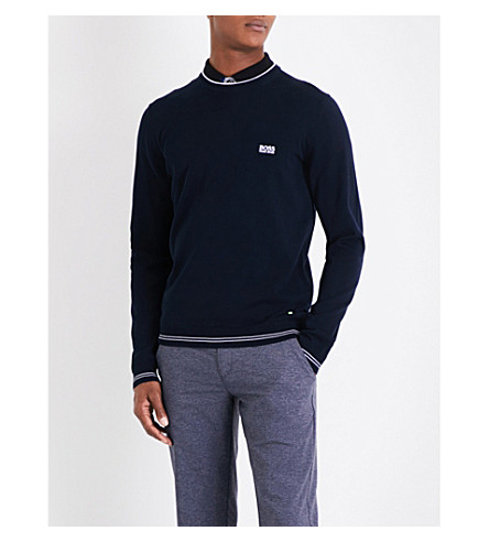 BOSS GREEN Contrasting stripe crewneck (Navy