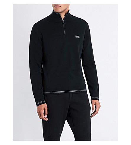BOSS GREEN Striped-trim knitted sweatshirt (Black