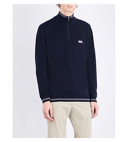 BOSS GREEN Striped-trim knitted sweatshirt (Navy