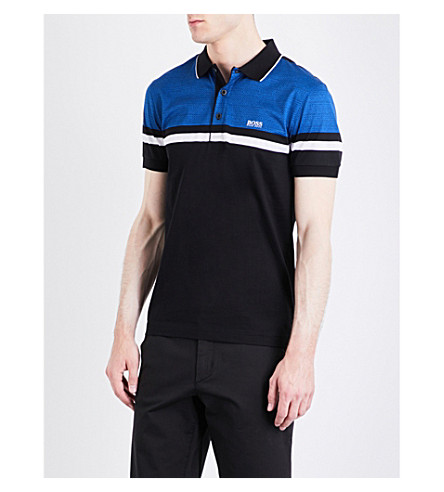 BOSS GREEN Slim-fit striped jersey polo shirt (Black