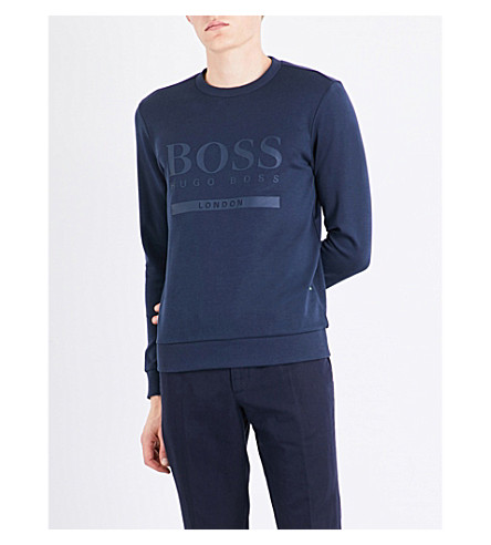 BOSS Logo-print cotton-jersey sweatshirt (Open+miscellaneous