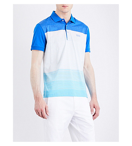 BOSS Regular-fit striped jersey polo shirt (White