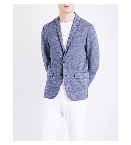 BOSS Slim-fit marled jersey jacket (Dark+blue