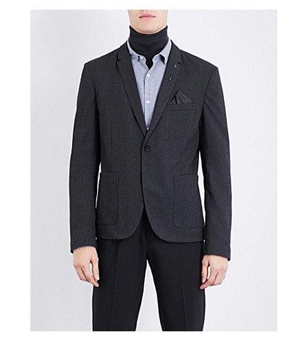 BOSS ORANGE Slim-fit single-breasted woven blazer (Black