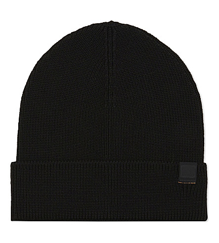 BOSS ORANGE Ribbed wool beanie (Black
