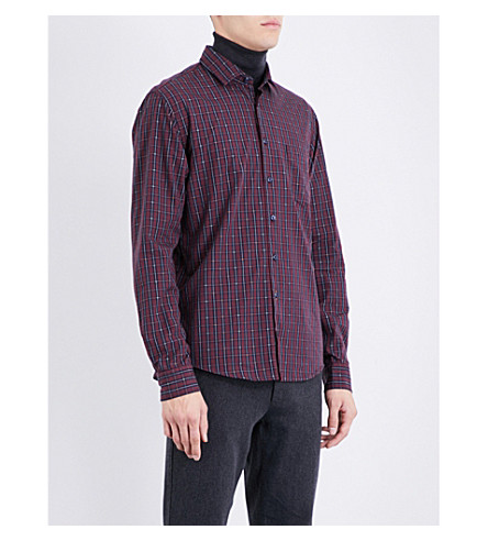 BOSS ORANGE Checked regular-fit cotton shirt (Open+red