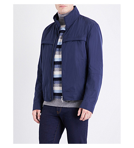 BOSS Funnel-neck shell jacket (Navy