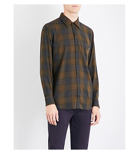 BOSS Checked regular-fit brushed cotton-blend shirt (Dark+green