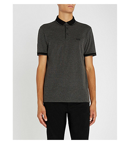 BOSS Regular-fit striped-trim cotton-piqué polo shirt (Black