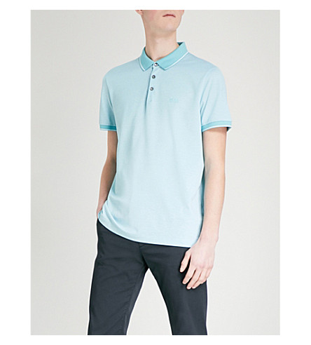 BOSS Regular-fit striped-trim cotton-piqué polo shirt (Light/pastel+blue