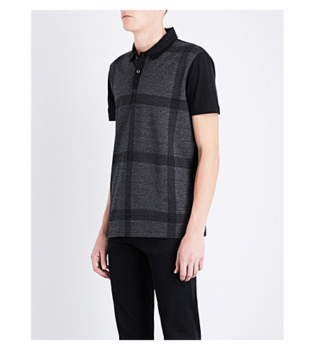BOSS Checked cotton-piqué polo shirt (Black