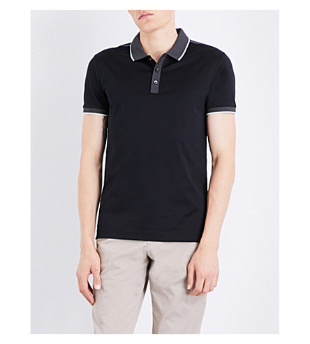 BOSS Contrast-trim cotton polo shirt (Black