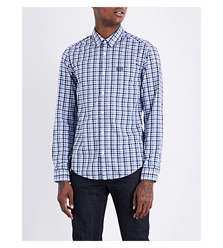 BOSS GREEN Checked cotton shirt (Navy