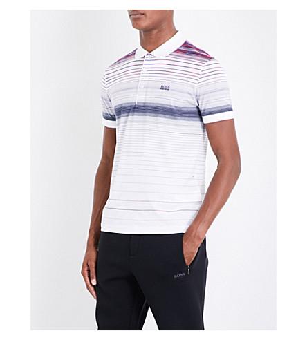 BOSS 条纹平纹针织棉 Polo 衫 (白色