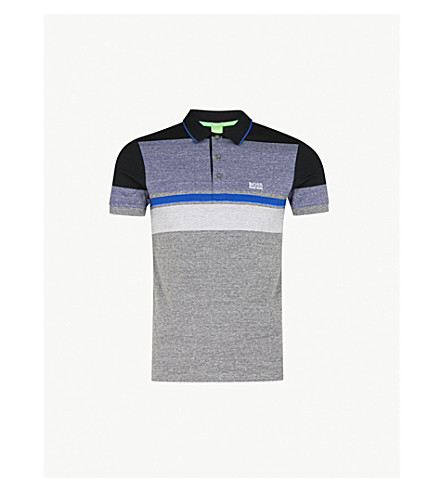 BOSS Contrast-panel cotton-piqué polo shirt (Medium+grey