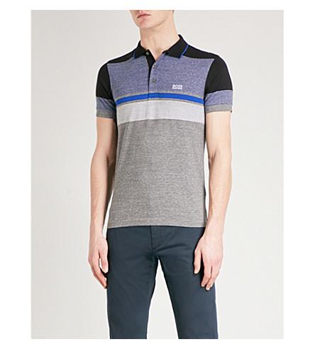 BOSS Contrast-panel cotton-piqué polo shirt (Medium+grey