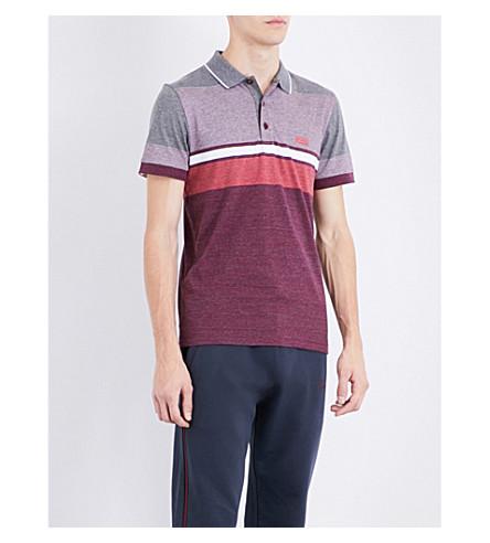 BOSS GREEN Contrast-panel cotton-piqué polo shirt (Medium+red