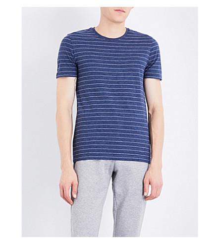 BOSS Striped cotton-jersey T-shirt (Open+blue
