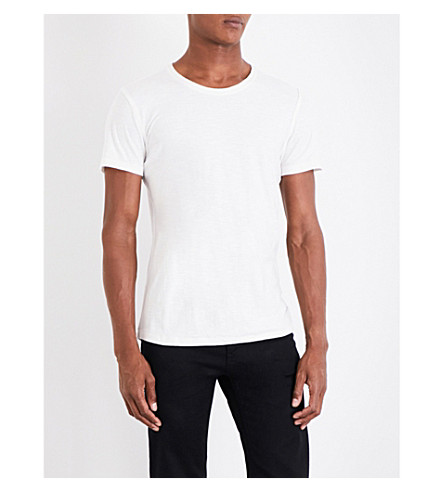 BOSS ORANGE Frayed edge cotton-jersey T-shirt (Natural