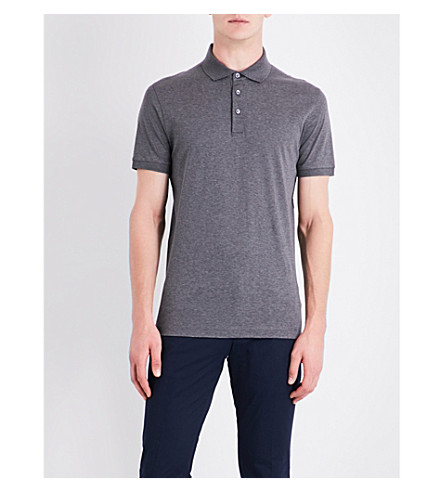 BOSS Regular-fit cotton-piqué polo shirt (Medium+grey