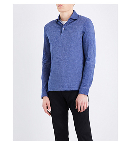 BOSS Micro-pattern cotton polo shirt (Open+blue