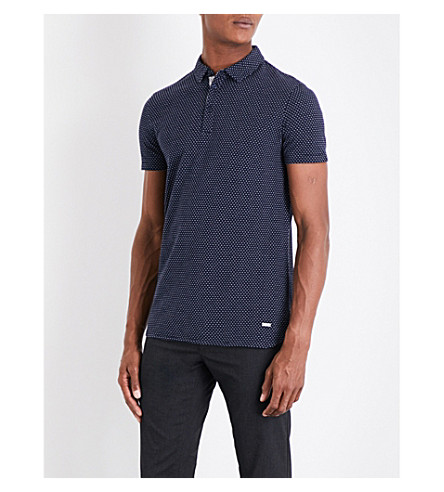 BOSS ORANGE Geometric-pattern cotton piqué polo shirt (Dark+blue
