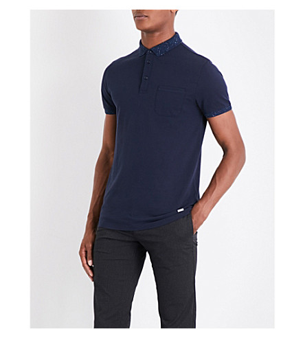 BOSS ORANGE Speckle-pattern trimmed cotton-piqué polo shirt (Dark+blue