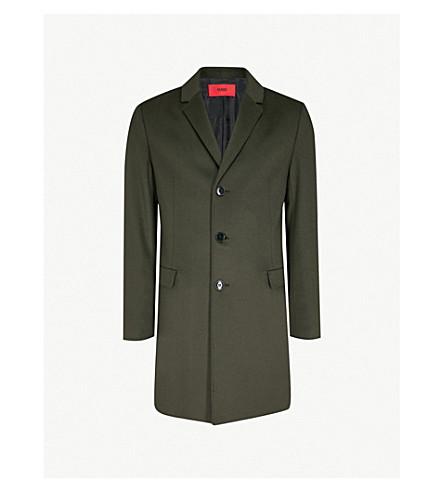HUGO Single-breasted wool and cashmere-blend coat (Dark+green