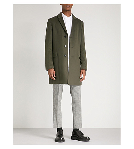 HUGO Single-breasted wool and cashmere-blend coat (Dark+green