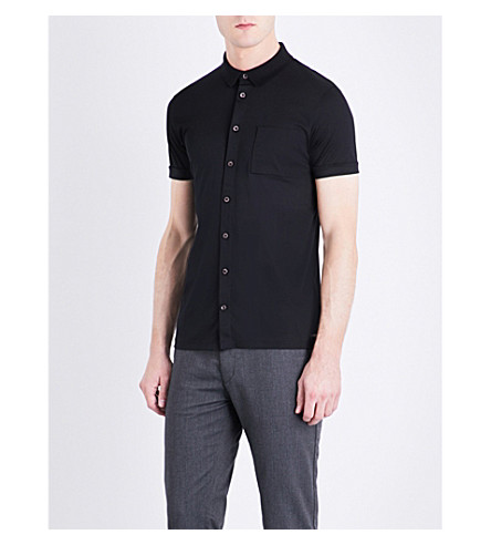 BOSS 修身版型棉质 Polo 衫 (黑色