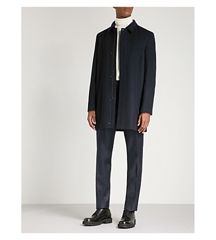 HUGO Single-breasted wool and cashmere-blend coat (Navy