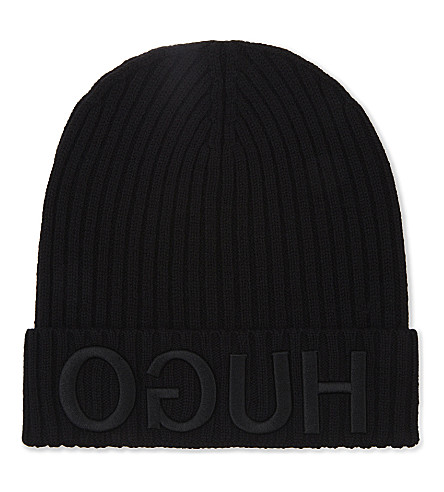 HUGO Logo cuff ribbed wool beanie (Black