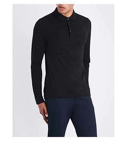 BOSS Textured cotton polo shirt (Black